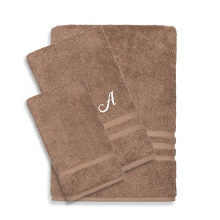 Authentic Hotel and Spa Omni Turkish Cotton Terry 3-piece Latte Brown Bath Towel Set with White Script Monogrammed Initial