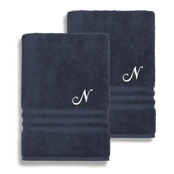 Authentic Hotel and Spa Omni Turkish Cotton Terry Set of 2 Navy Blue Bath Towels with White Script Monogrammed Initial