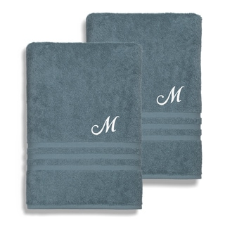 Authentic Hotel and Spa Omni Turkish Cotton Terry Set of 2 Medium Blue Bath Towels with White Script Monogrammed Initial
