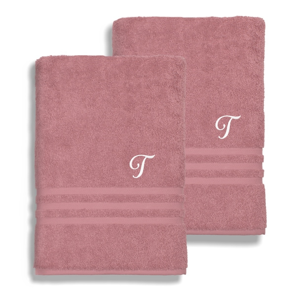 Authentic Hotel and Spa Omni Turkish Cotton Terry Set of 2 Tea Rose Bath Towels with White Script Monogrammed Initial