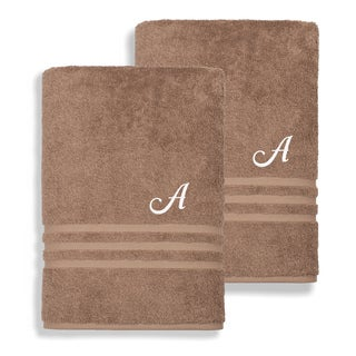 Authentic Hotel and Spa Omni Turkish Cotton Terry Set of 2 Latte Brown Bath Towels with White Script Monogrammed Initial