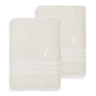 Authentic Hotel and Spa Omni Turkish Cotton Terry Set of 2 Cream Bath Towels with White Script Monogrammed Initial