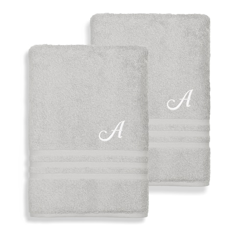 Authentic Hotel and Spa Omni Turkish Cotton Terry Set of 2 Grey Bath Towels with White Script Monogrammed Initial
