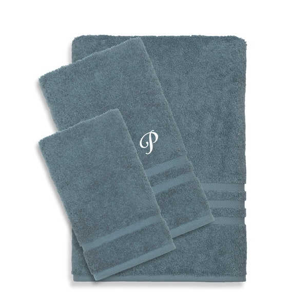 Authentic Hotel and Spa Omni Turkish Cotton Terry 3-piece Medium Blue Bath Towel Set with White Script Monogrammed Initial