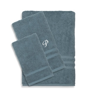 Authentic Hotel and Spa Omni Turkish Cotton Terry 3-piece Medium Blue Bath Towel Set with White Script Monogrammed Initial|https://ak1.ostkcdn.com/images/products/12854024/P19617106.jpg?impolicy=medium