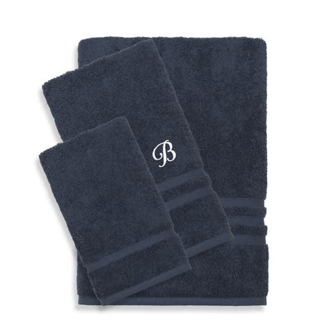 Authentic Hotel and Spa Omni Turkish Cotton Terry 3-piece Navy Blue Bath Towel Set with White Script Monogrammed Initial