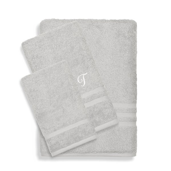 Authentic Hotel and Spa Omni Turkish Cotton Terry 3-piece Grey Bath Towel Set with White Script Monogrammed Initial