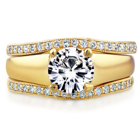 Annello by Kobelli 14k Yellow Gold Round Cut Moissanite Solitaire and 1/3ct TDW Diamond Bands 3-Piec