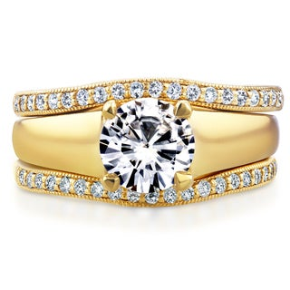 Annello 14k Yellow Gold Round Cut Moissanite Solitaire and 1/3ct TDW Diamond Bands 3-Piece Set (G-H, I1-I2)
