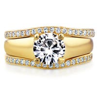 Annello by Kobelli 14k Yellow Gold Round Cut Moissanite (HI) Solitaire and 1/3ct TDW Diamond Bands 3-Piec