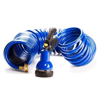 Imperial Home Brass and Polyurethane 50-foot Expandable Flexible-coil Garden Water Hose With 7-function Water Nozzle