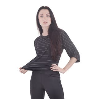 Bluberry Women's Meridian Black/Grey Nylon-blend Striped Crop Top|https://ak1.ostkcdn.com/images/products/12854147/P19617187.jpg?impolicy=medium