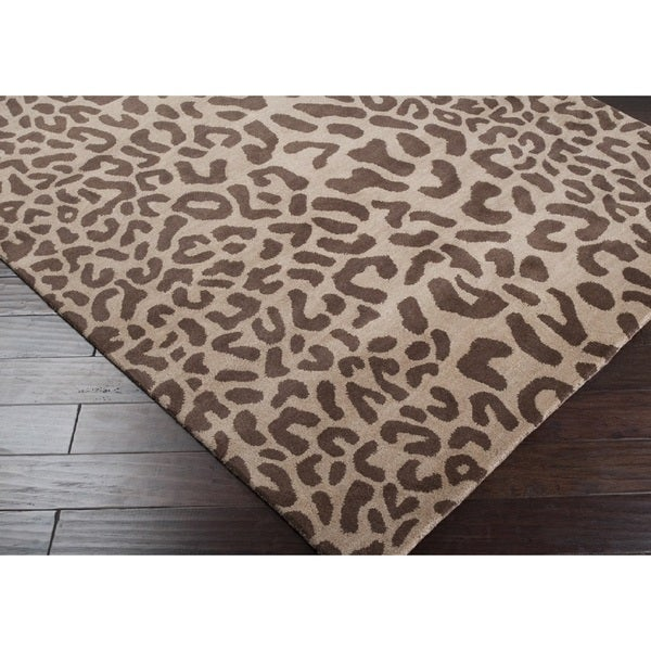 Hand-tufted Jungle Animal Print Wool Area Rug (2' x 3')