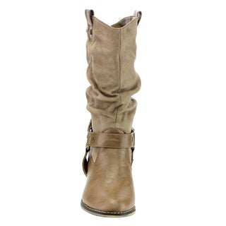 Refresh Women's AD44 Western Cowgirl Pull-on Block Heel Slouchy Mid-calf Boots