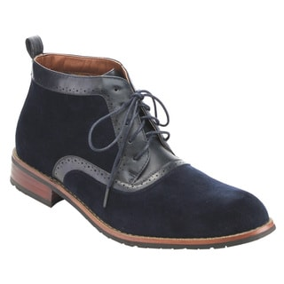 Ferro Aldo Men's Blue Faux Leather Lace-up High-top Chukka Desert Work Boots