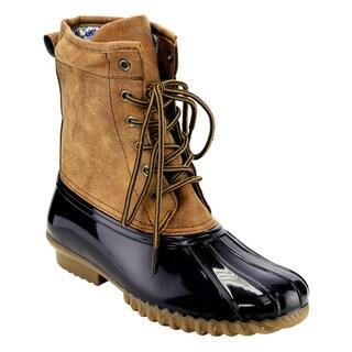 Blue Suede Shoe's Women's Two-tone Faux-leather Duck Rain Boots