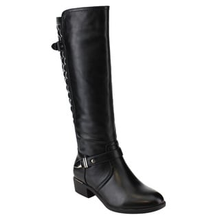 Via Pinky ED91 Women's Faux Leather Quilt Side-zipper Knee-high Riding Boots