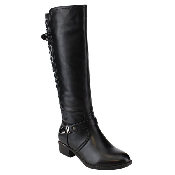 6cbac4724c9 Shop Via Pinky ED91 Women s Faux Leather Quilt Side-zipper Knee-high ...