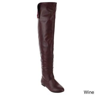 NATURE BREEZE FE61 Women Snap Cuff Over The Knee Flat Heel Boots