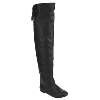NATURE BREEZE FE61 Women Snap Cuff Over The Knee Flat Heel Boots