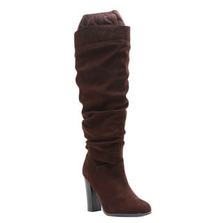 Qupid Women's FE54 Faux-suede Slouchy Knee-high Sweater-cuff High Block-heel Boots