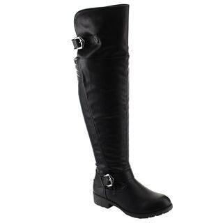 Nature Breeze FE58 Women's Faux Leather Buckle Strap Ribbed Over-the-Knee Riding Boots