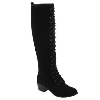 Natural Breeze FE57 Women's Lace Up Cap Toe Knee High Mid High Heel Boots