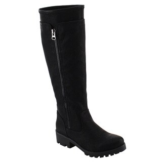 Nature Breeze Women's Faux Leather Dual Zipper Lug Knee-high Platform Boots