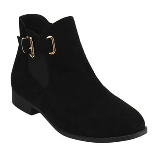 Top Moda Women's Faux Suede Chelsea Buckle Elastic Side Zipper Chunky Ankle Bootie