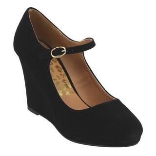 Qupid Women's FE50 Single-strap Mary Jane Platform Wedge-heel Dress Pumps