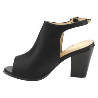 Chase and Chloe Women's Black Faux Leather Slingback Chunky Ankle Booties