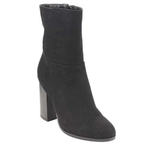 ED87 Women's Classic Side Zipper High Stacked Block Heel Ankle Booties