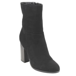 Bamboo Women's ED87 Black Faux-suede Classic Side-zipper High-stacked Block-heel Ankle Booties