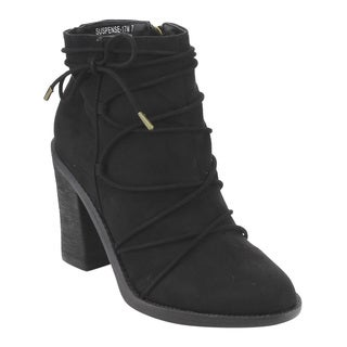 Bamboo Women's ED85  Black Faux Suede Lace Wrap Side Zipper Chunky High-heel Ankle Booties