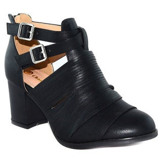 Chase & Chloe Women's ED70 Cut-out Sides Buckle-strap Zipper Chunky Ankle Bootie