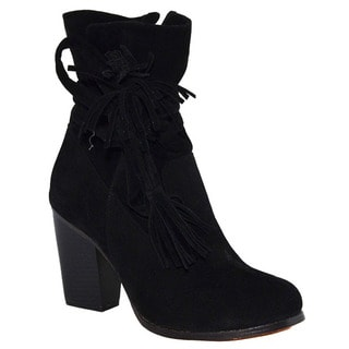Chase & Chloe Women's ED69 Faux Suede Slouchy Strap Ankle Stacked Heel Ankle Booties