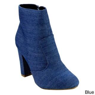 Bamboo Women's ED82 Side-zip High Block Heel Ankle Booties