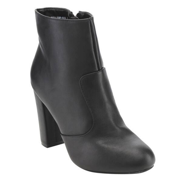 b507e0b033d Shop Bamboo Women's ED82 Side-zip High Block Heel Ankle Booties ...