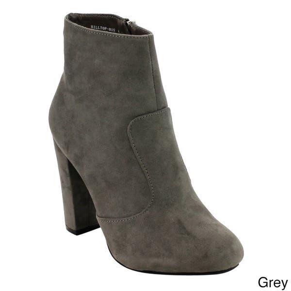 f8d9674cbef Shop Bamboo Women's ED82 Side-zip High Block Heel Ankle Booties ...