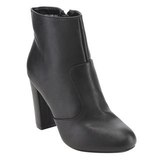 Bamboo Women's ED82 Side-zip High Block Heel Ankle Booties