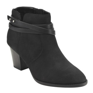 CityClassified Women's FE45 Strappy Studs Stacked Block-heel Ankle Booties