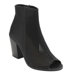 Soda Women's Black Faux-leather Perforated Block-heel Ankle Bootie