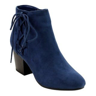 Soda FE51 Women's Side Lace-up Stacked Block Heel Ankle Booties|https://ak1.ostkcdn.com/images/products/12854499/P19617425.jpg?impolicy=medium