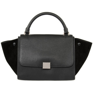 Celine Trapeze Medium Black Leather Handbag