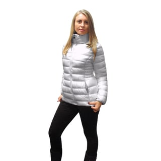 INC International Concepts Women's White Packable Puffer Jacket