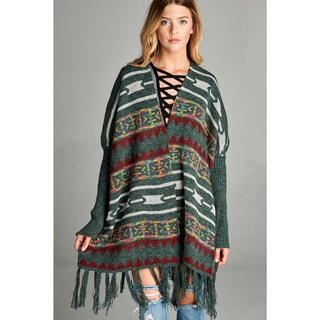 Spicy Mix Women's Tessa Multicolor Acrylic/Nylon/Polyester Fringe-accent Ribbed Long-sleeve Cardigan Sweater