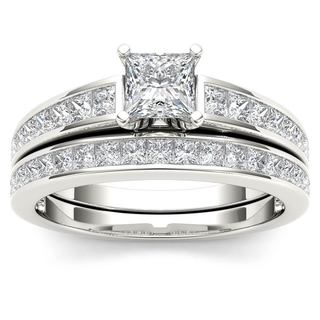 De Couer 14K White Gold 1 1/2ct TDW Princess-Cut Diamond Engagement Ring Set