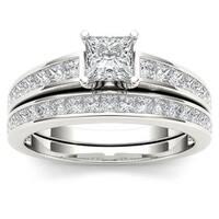 De Couer 14K White Gold 1 1/2ct TDW Princess-Cut Diamond Engagement Ring Set
