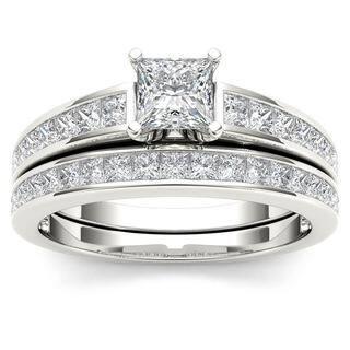 De Couer 14K White Gold 1 2ct TDW Princess Cut Diamond Engagement Ring