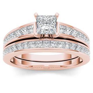 De Couer 14K Rose Gold 1 1/2ct TDW Princess-Cut Diamond Engagement Ring Set
